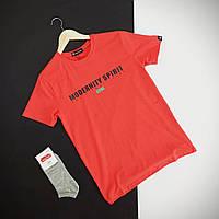 Футболка мужская летняя стильная удобная посадка с коротким рукавом красного цвета