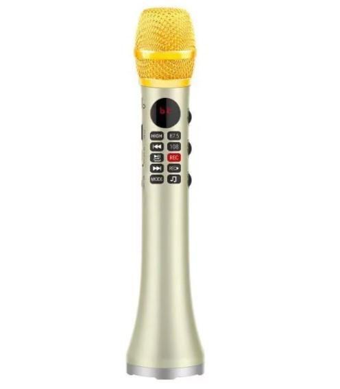 Мікрофон караоке бездротовий (золотий) із записом MicMagic L-699 DSP + AGC 20 Вт