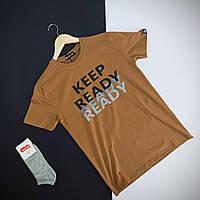 Стильная мужская футболка черная из хлопка с логотипом