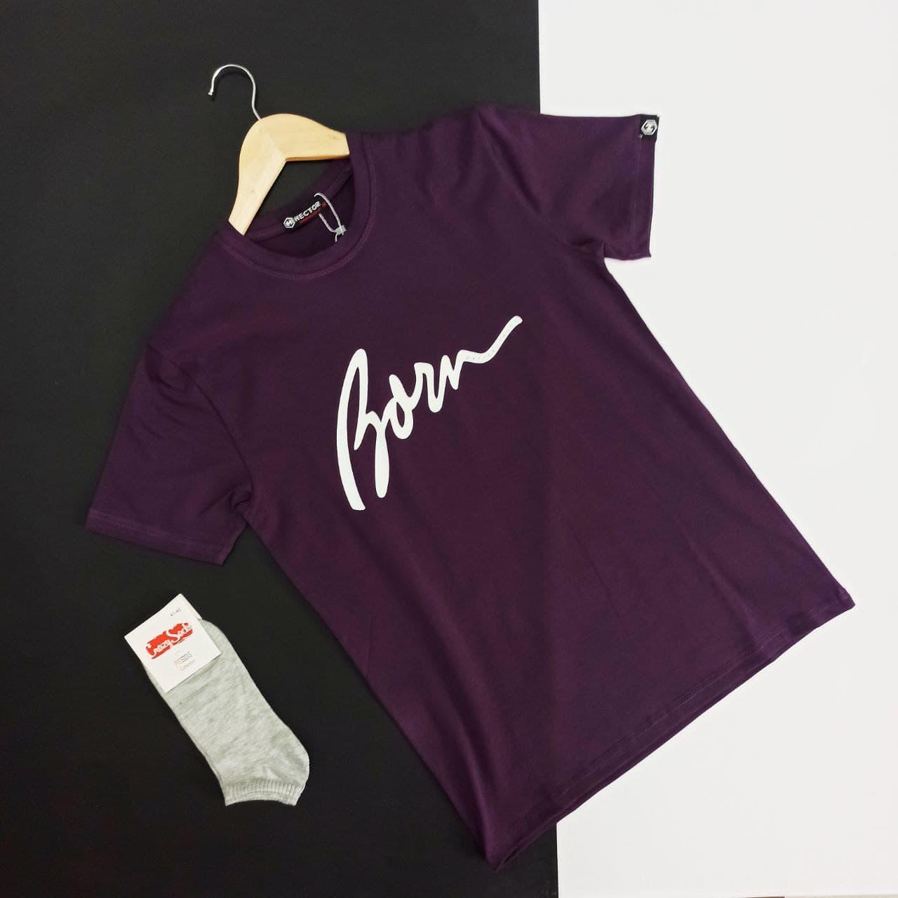 Мужская футболка молодежная фиолетовая из хлопка с логотипом Born