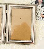 Старая английская фоторамка на два фото, парная рамка, посеребренный металл, Англия, винтаж, фото 4