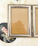 Старая английская фоторамка на два фото, парная рамка, посеребренный металл, Англия, винтаж, фото 3