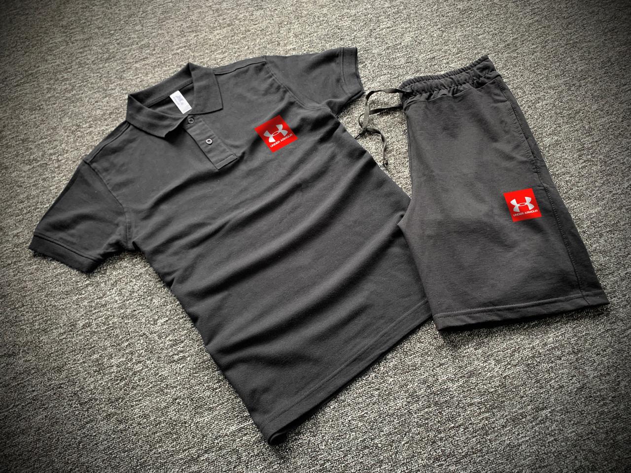 Комплект футболка поло и шорты с принтом черный мужской   Набор летний ЛЮКС качества