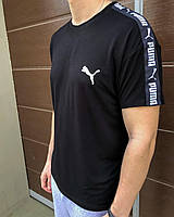 Чёрная спортивная мужская футболка Puma с лампасами