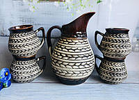 Набор для напитков Керамклуб Колосок кувшин V 1,5 л и 4 чашки V 300 мл, фото 1