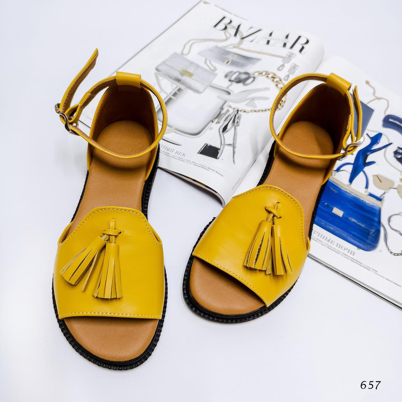 Жіночі босоніжки Za-r@ Колір - Жовтий Матеріал -Нат.Шкіра
