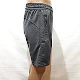 Шорти чоловічі до коліна трикотажні х/б в стилі Nike Туреччина темно-сірі, фото 4