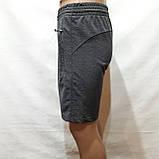 Шорти чоловічі до коліна трикотажні х/б в стилі Nike Туреччина темно-сірі, фото 5