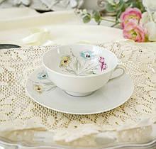 Винтажная фарфороваячайная двойка, чашка иблюдце, Limoges porcelain, Франция