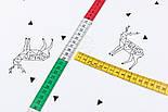 """Отрез сатина """"Геометрические олени и треугольники"""" на белом, размер 65*160 см, фото 3"""