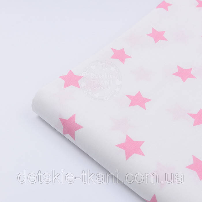 Отрез ткани с розовыми звёздами 3 см на белом фоне, размер 130*240 см