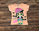 Детская футболка кукла ЛОЛ для девочки на 1-8 лет, фото 3