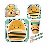 Детская бамбуковая посуда Bamboo Kids Set -Пчела Оранжевая