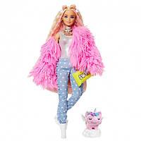 Кукла Барби Экстра Модница в розовом пальто Barbie Extra Doll # 3 in Pink Fluffy Coat with Pet Unico