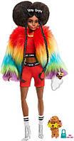 Кукла афроамериканка Барби Экстра в радужном манто Barbie Extra Doll #1 in Furry Rainbow Coat