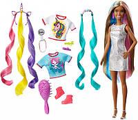 Кукла Барби Фантазия волос Русалка и Единориг Barbie Fantasy Hair Doll with Mermaid & Unicorn Looks, Brunette