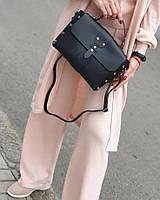 Жіноча шкіряна сумка чорна made in Italy жіноча сумка шкіра натуральна італія кроссбоди модні через плече, фото 1