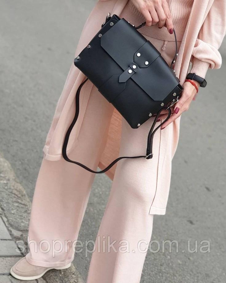Жіноча шкіряна сумка чорна made in Italy жіноча сумка шкіра натуральна італія кроссбоди модні через плече