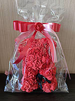 Мишка из 3D роз 25см в красивой подарочной упаковке мишка из роз оригинальный подарок на 8 марта девушке