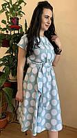 Платье с коротким рукавом в горошек