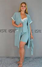 Комплект женской домашней одежды вискоза с кружевом большие размеры.
