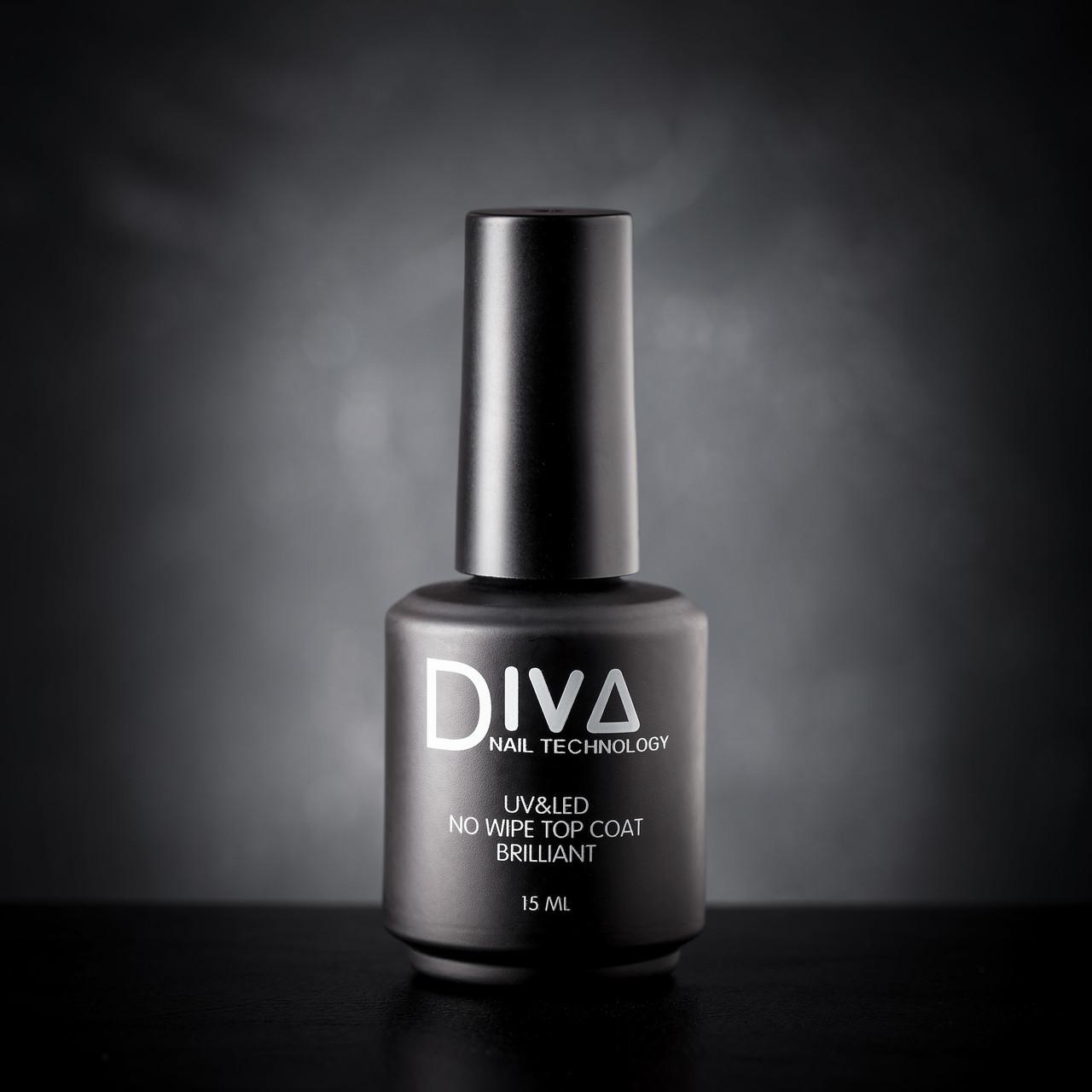 Топ Diva no wipe top coat Brilliant 15 ml