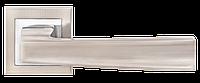 """Дверные ручки на квадратной розетке A-1335 SN / CP (Матовый никель / полированный хром), нажимные от ТМ """"MVM"""""""