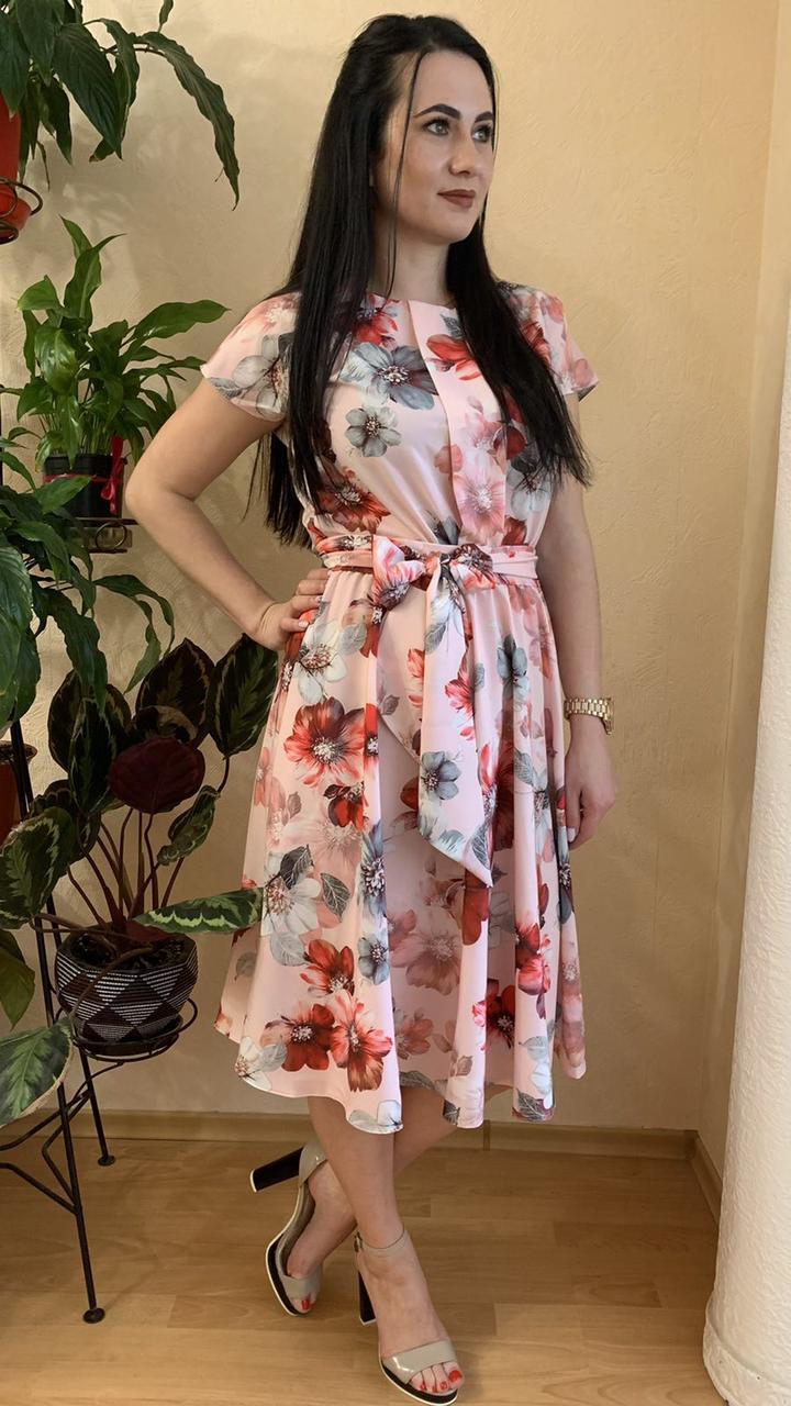 Платье с коротким рукавом с цветами