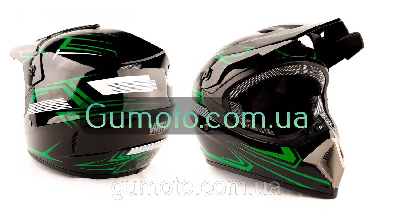 Шолом MD-905 Virtue крос чорний з зеленим глянець