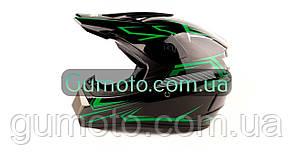 Шолом MD-905 Virtue крос чорний з зеленим глянець, фото 2