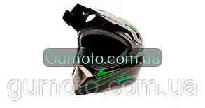 Шолом MD-905 Virtue крос чорний з зеленим глянець, фото 3