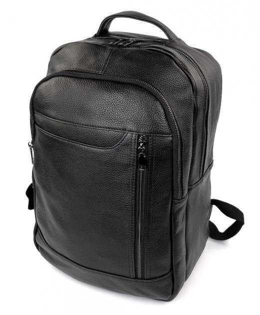 Черный стильный кожаный мужской рюкзак Tiding Bag