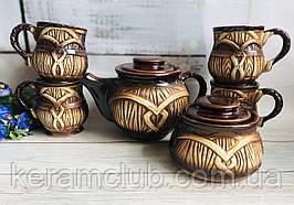Керамический чайный набор Керамклуб Бочка 4 чашки