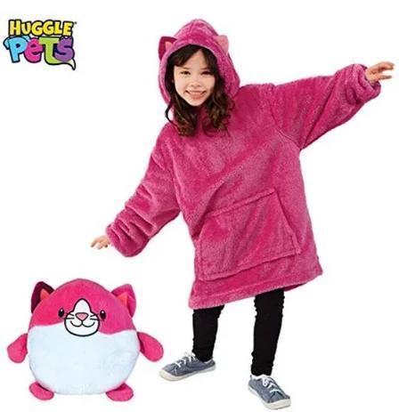 """Мягкая игрушка трансформер - худи с капюшоном """"Huggle Pets"""" розовая"""