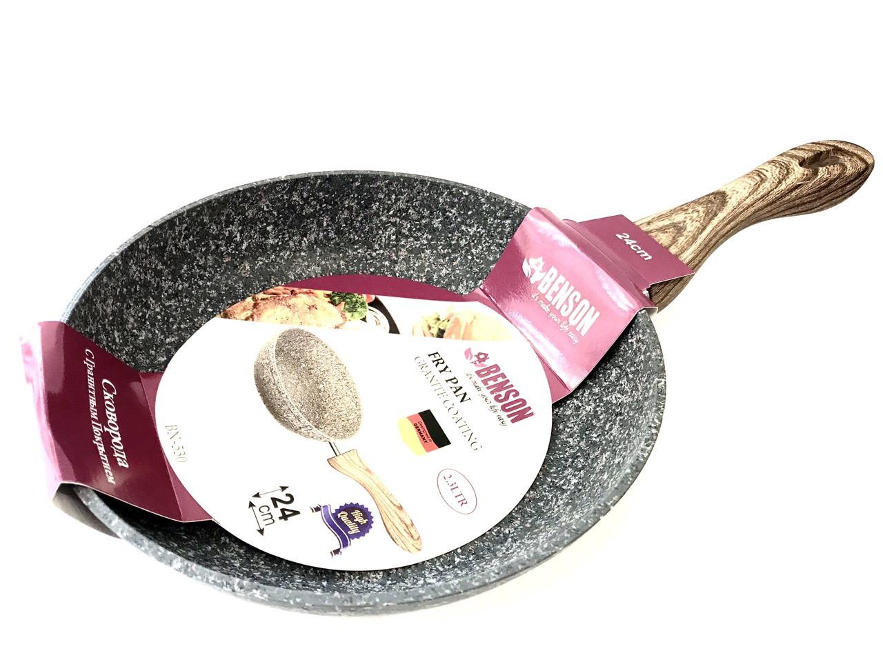 Сковорода Benson BN-530 (24 см) с антипригарным гранитным покрытием | сковородка Бенсон, сотейник Бэнсон