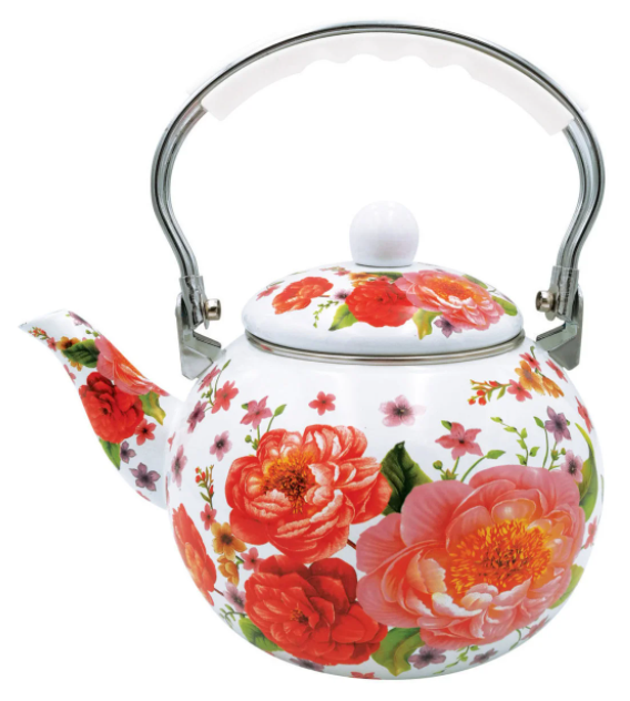 Эмалированный чайник с подвижной ручкой Benson BN-110 белый с красным (2,5 л)   чайник Бенсон, Бэнсон