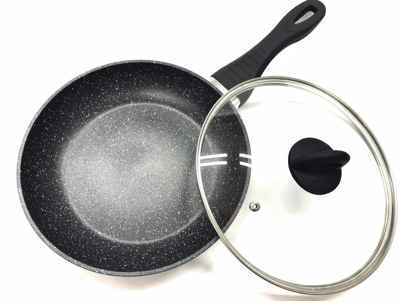 Сковорода Benson BN-569 с антипригарным мраморным покрытием (26*5см) индукция, бакелитовая ручка   сковородка