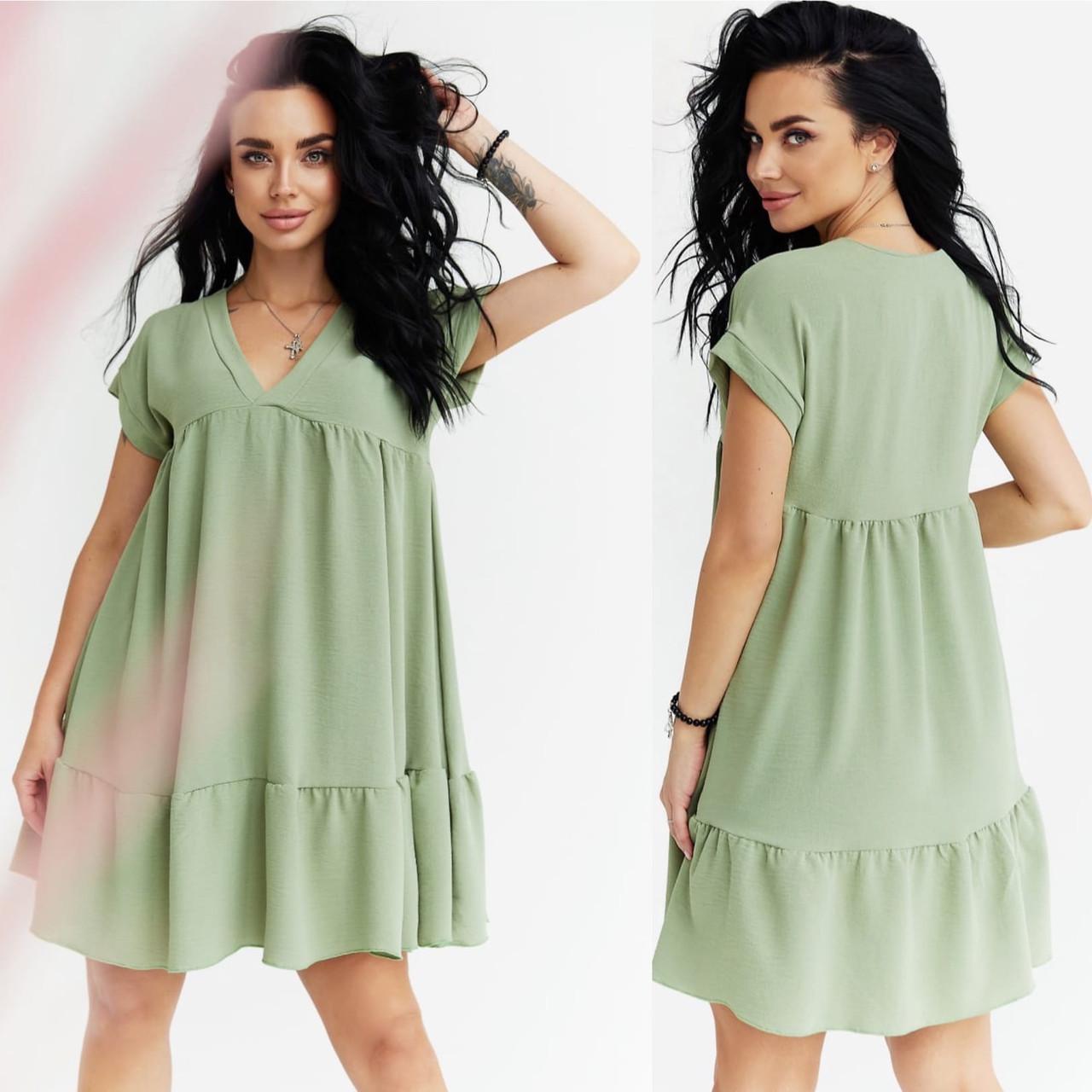 """Жіноче літнє плаття до великих розмірів 2032 """"Волани Міні"""" в кольорах"""