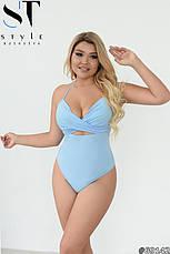 Жіночий яскравий спільний купальник великих розмірів 48-58, фото 3