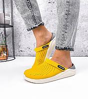 Женские Желтые Кроксы Сабо шлепанцы резиновые, фото 1