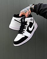 Чёрно-белые кожаные кроссовки Air Jordan 1 White Black мужские | кожа + резина, фото 1