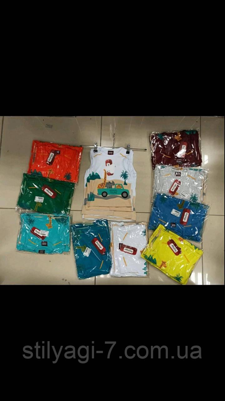 Майка для мальчика на 1-4 лет белого, желтого, бордо, синего, бирюзового, оранж, зеленого цвета жираж оптом