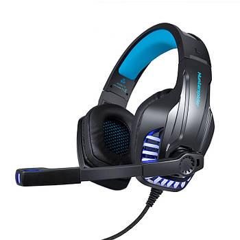 Проводная гарнитура Hunterspider V6 Black + Blue 1+2/3.5мм + USB для смартфона наушники
