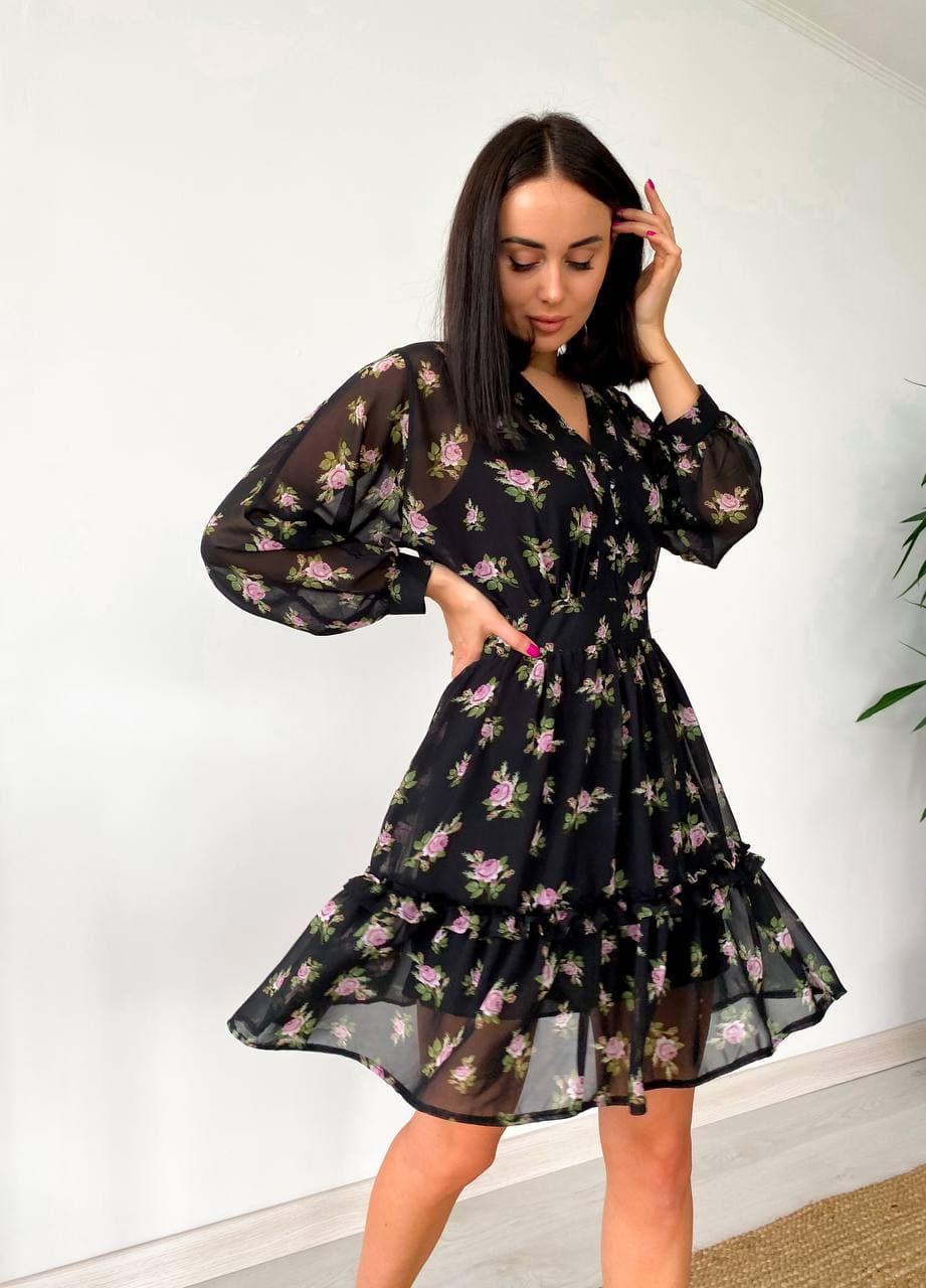 Сукня жіноча літнє з шифону чорне з квітковим принтом. Жіноче літнє плаття шифонове в квіточку.