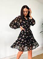 Платье женское летнее из шифона черное с цветочным принтом. Женское летнее платье шифоновое в цветочек. , фото 1