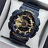 Водонепроникні спортивні наручний годинник Casio G-Shock ga-110 AAA копія чорні з золотим циферблатом