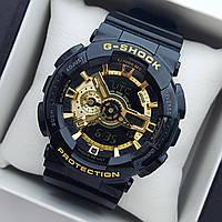 Водонепроникні спортивні наручний годинник Casio G-Shock ga-110 AAA копія чорні з золотим циферблатом, фото 1