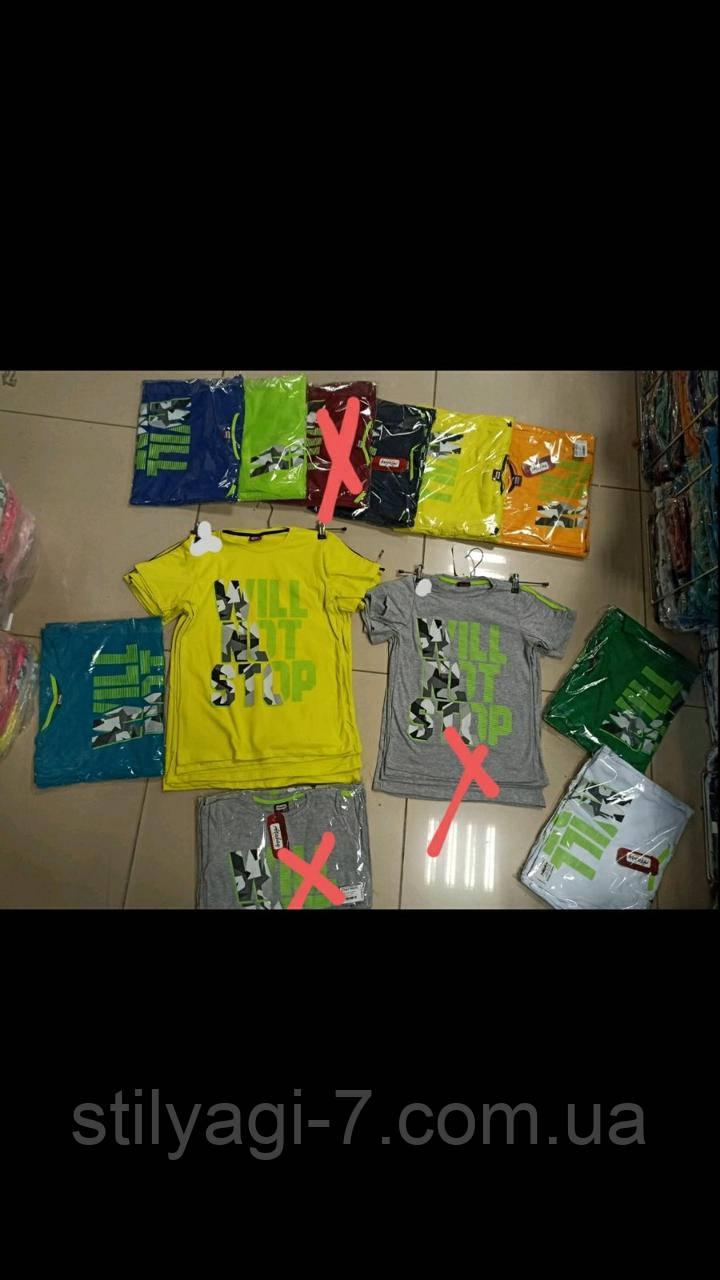Футболка для хлопчика на 13-16 років зеленого, жовтого, білого, зеленого, синього, оранжевого кольору оптом