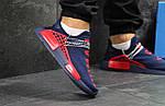 Чоловічі кросівки Adidas NMD Human RACE (сині з червоним) B10522 спортивні якісні кроси, фото 4