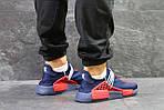 Чоловічі кросівки Adidas NMD Human RACE (сині з червоним) B10522 спортивні якісні кроси, фото 6